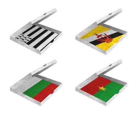 brunei darussalam: Nation Flag. Box recycled paper on white background. ( Brittany , Brunei Darussalam , Bulgaria , Burkina Faso ) Stock Photo