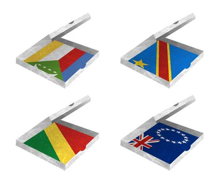 democratic republic of the congo: Nation Flag. Box recycled paper on white background. ( Comoros , Congo Democratic Republic , Congo Republic , Cook Islands) Stock Photo