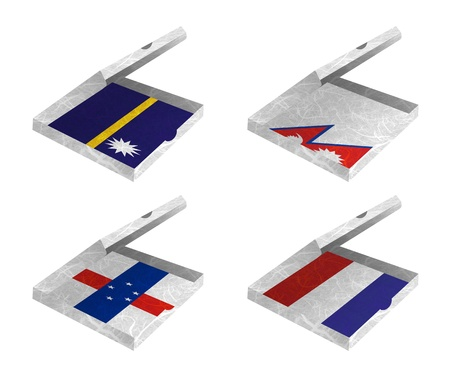 antilles: Nation Flag  Box recycled paper on white background    Nauru , Nepal , Netherlands Antilles , Netherlands