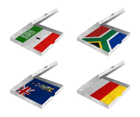 Nation Flag  Box recycled paper on white background    Somaliland , South Africa , South Georgia and the South Sandwich Islands , South Ossetia