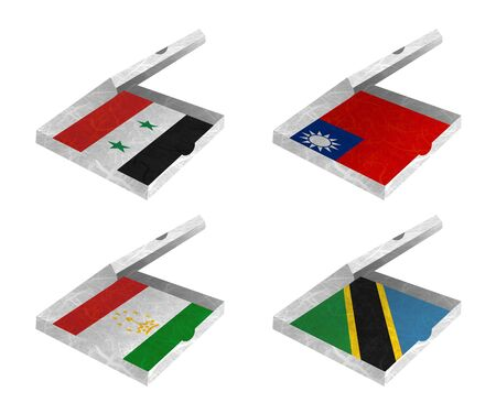 Nation Flag  Box recycled paper on white background    Syria , Taiwan, Tajikistan , Tanzania  Stock Photo