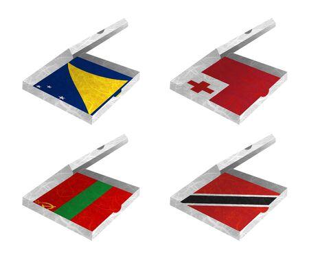 tokelau: Nation Flag  Box recycled paper on white background    Tokelau , Tonga , Transnistria , Trinidad and Tobago   Stock Photo