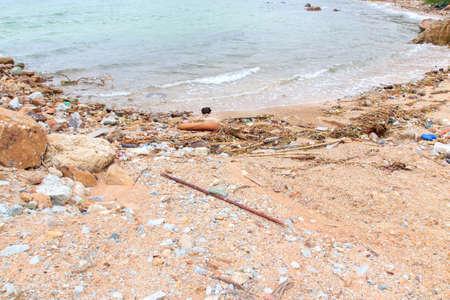 not full: Not beautiful beach is full of rubbish.