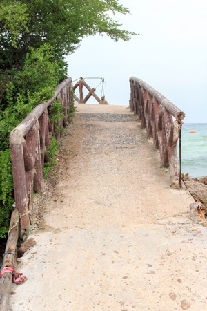 A bridge walk along the way mountainside. Stock Photo - 16505473