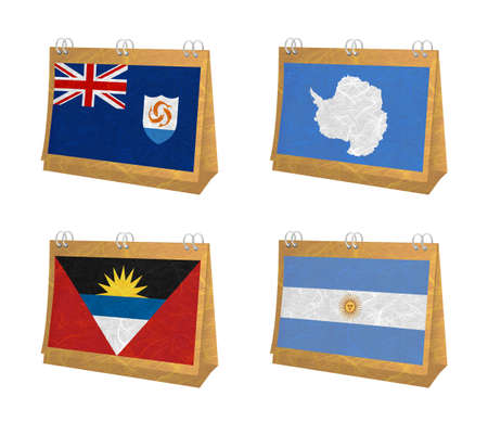anguilla: Nation Flag. Calendar recycled paper on white background. ( Anguilla , Antarctica , Antigua and Barbuda , Argentina )