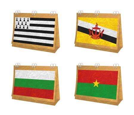 brunei darussalam: Nation Flag. Calendar recycled paper on white background. ( Brittany , Brunei Darussalam , Bulgaria , Burkina Faso ) Stock Photo