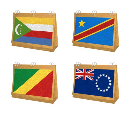 democratic republic of the congo: Nation Flag. Calendar recycled paper on white background. ( Comoros , Congo Democratic Republic , Congo Republic , Cook Islands)