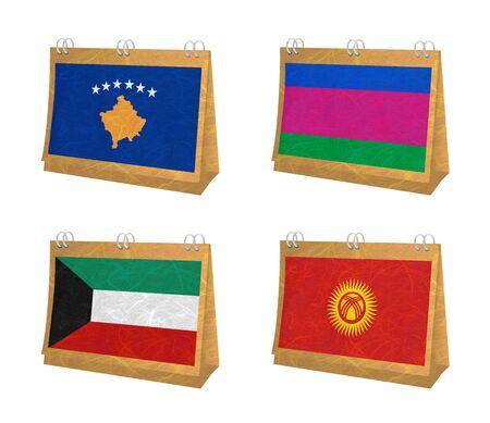 kuban: Nation Flag. Calendar recycled paper on white background. ( Kosovo, Kuban Peoples Republic , Kuwait , Kyrgyztan )