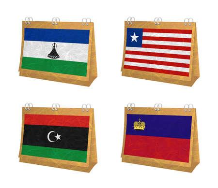liechtenstein: Nation Flag. Calendar recycled paper on white background. ( Lesotho , Liberia , Libya , Liechtenstein ) Stock Photo