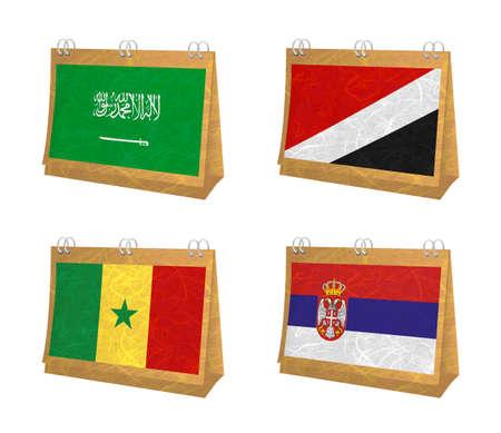 sealand: Nation Flag. Calendar recycled paper on white background. ( Saudi Arabia , Sealand Principality , Senegal , Serbia ) Stock Photo