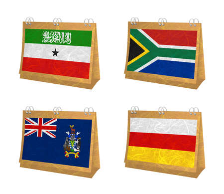 somaliland: Nation Flag. Calendar recycled paper on white background. ( Somaliland , South Africa , South Georgia and the South Sandwich Islands , South Ossetia )