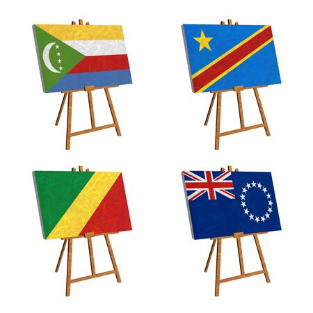 democratic republic of the congo: Nation Flag. Easel recycled paper on white background. ( Comoros , Congo Democratic Republic , Congo Republic , Cook Islands)