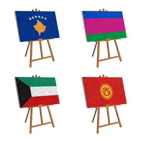 kuban: Nation Flag. Easel recycled paper on white background. ( Kosovo, Kuban Peoples Republic , Kuwait , Kyrgyztan )