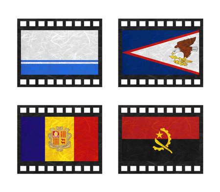 altai: Nation Flag. Film strip recycled paper on white background. ( Altai Republic , American Samoa , Andorra , Angola ) Stock Photo