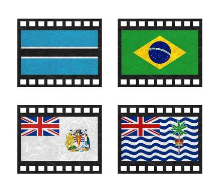 indian ocean: Nation Flag. Film strip recycled paper on white background.  ( Botswana , Brazil , British Antarctic Territory , British Indian Ocean Territory )