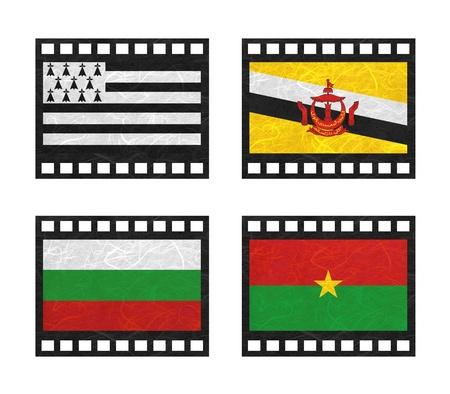 brunei darussalam: Nation Flag. Film strip recycled paper on white background. ( Brittany , Brunei Darussalam , Bulgaria , Burkina Faso )
