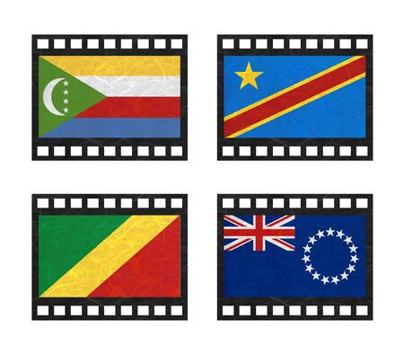 democratic republic of the congo: Nation Flag. Film strip recycled paper on white background. ( Comoros , Congo Democratic Republic , Congo Republic , Cook Islands) Stock Photo