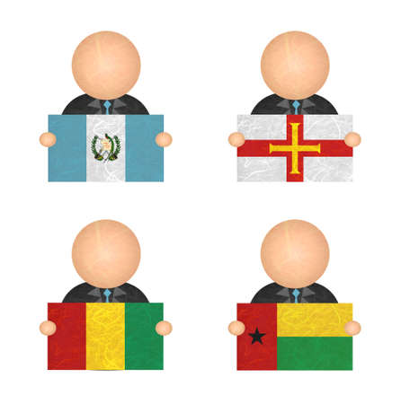 guernsey: Nation Flag. Label recycled paper on white background. ( Guatemala , Guernsey , Guinea , Guinea-Bissau )