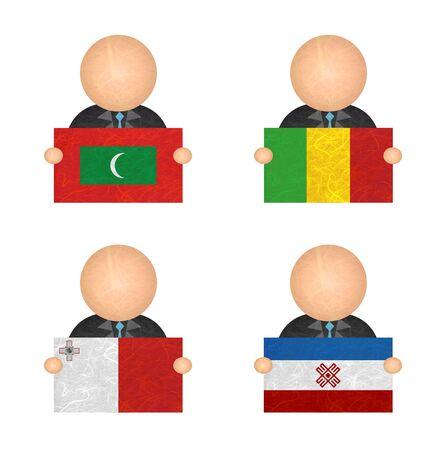mali: Nation Flag. Label recycled paper on white background. ( Maldives , Mali , Malta , Mari El ) Stock Photo
