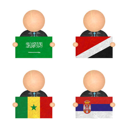 sealand: Nation Flag. Label recycled paper on white background. ( Saudi Arabia , Sealand Principality , Senegal , Serbia ) Stock Photo