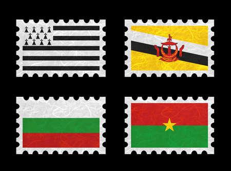 brunei darussalam: Nation Flag. Stamp recycled paper on white background. ( Brittany , Brunei Darussalam , Bulgaria , Burkina Faso )