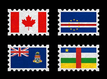 cayman: Nation Flag. Stamp recycled paper on white background. ( Canada , Cape Verde , Cayman Islands , Central African Republic ) Stock Photo