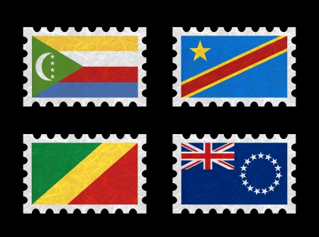 democratic republic of the congo: Nation Flag. Stamp recycled paper on white background. ( Comoros , Congo Democratic Republic , Congo Republic , Cook Islands)