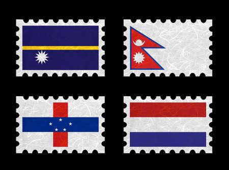 antilles: Nation Flag. Stamp recycled paper on white background. ( Nauru , Nepal , Netherlands Antilles , Netherlands ) Stock Photo