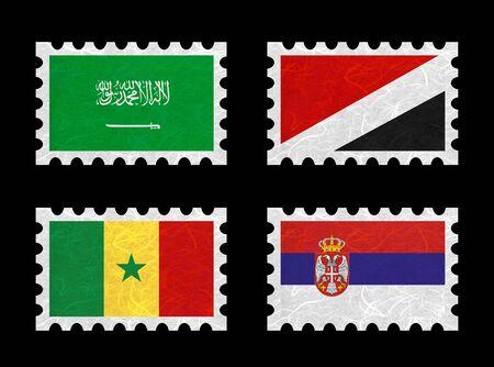 sealand: Nation Flag. Stamp recycled paper on white background. ( Saudi Arabia , Sealand Principality , Senegal , Serbia ) Stock Photo