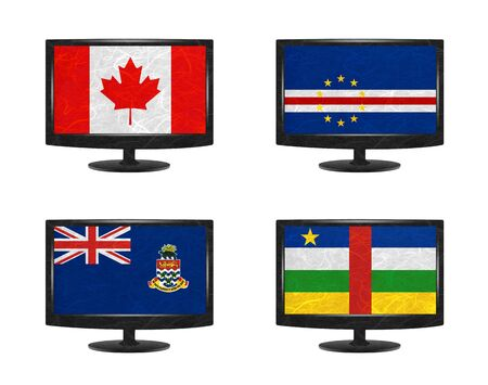 cayman: Nation Flag. Television recycled paper on white background. ( Canada , Cape Verde , Cayman Islands , Central African Republic ) Stock Photo