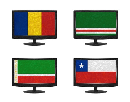 chad: Nation Flag. Television recycled paper on white background. ( Chad , Chechen Republic of Ichkeria , Chechen Republic , Chile ) Stock Photo