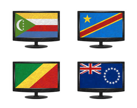 democratic republic of the congo: Nation Flag. Television recycled paper on white background. ( Comoros , Congo Democratic Republic , Congo Republic , Cook Islands)