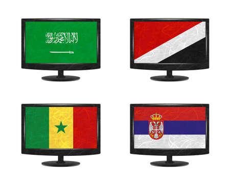 sealand: Nation Flag. Television recycled paper on white background. ( Saudi Arabia , Sealand Principality , Senegal , Serbia )