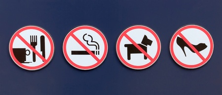 No sign include no eating and drinking, no smoking, no dogs and no high heels. Stock Photo - 17264752