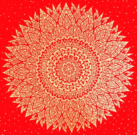 The delicate Thai pattern in gold and red color. Stock Photo