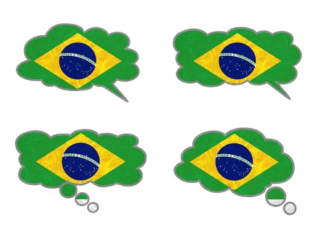 Brazil Flag. Dialog box recycled paper on white background. Stock Photo - 17264983