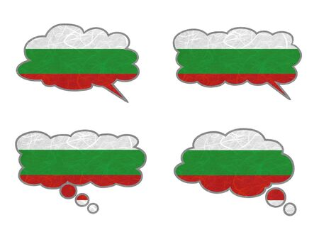 Bulgaria Flag. Dialog box recycled paper on white background. Stock Photo - 17264934