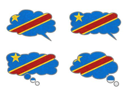 Congo Democratic Republic Flag. Dialog box recycled paper on white background. Stock Photo - 17274353