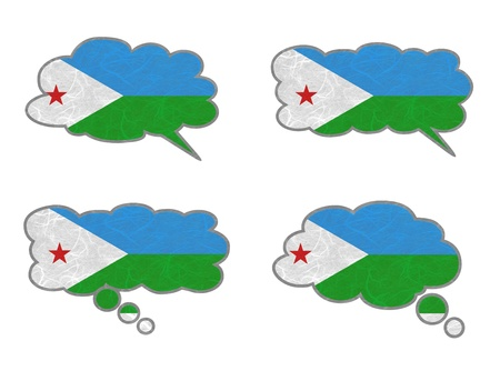 Djibouti Flag. Dialog box recycled paper on white background. Stock Photo - 17264974