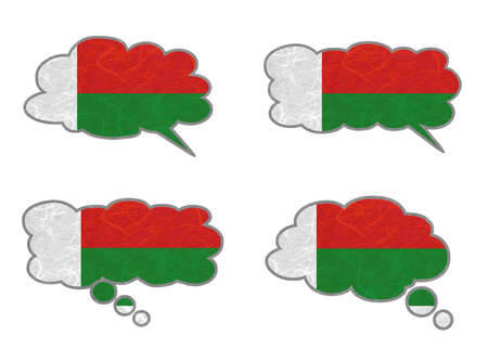 Madagascar Flag. Dialog box recycled paper on white background. Stock Photo - 17265642
