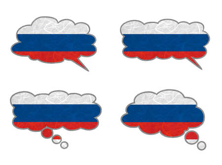 Russia Flag. Dialog box recycled paper on white background. Stock Photo - 17264935