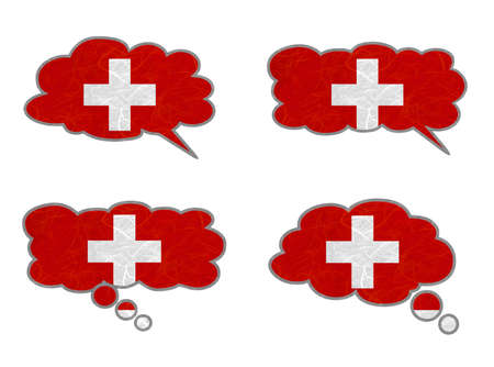 Switzerland Flag. Dialog box recycled paper on white background. Stock Photo - 17264991