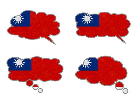 Taiwan Flag. Dialog box recycled paper on white background. Stock Photo - 17264940