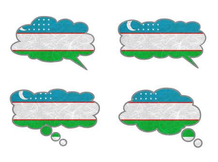 Uzbekistan Flag. Dialog box recycled paper on white background. Stock Photo - 17264694