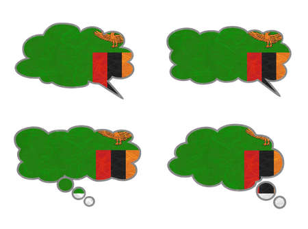 zambia flag: Zambia Flag. Dialog box recycled paper on white background.