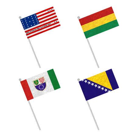 atoll: Nation Flag. Flag pole recycled paper on white background. ( Bikini Atoll , Bolivia , Bosnia and Herzegovina Federation of, Bosnia and Herzegovina )