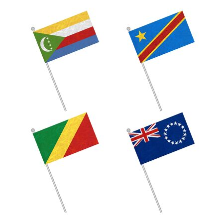 democratic republic of the congo: Nation Flag. Flag pole recycled paper on white background. ( Comoros , Congo Democratic Republic , Congo Republic , Cook Islands)