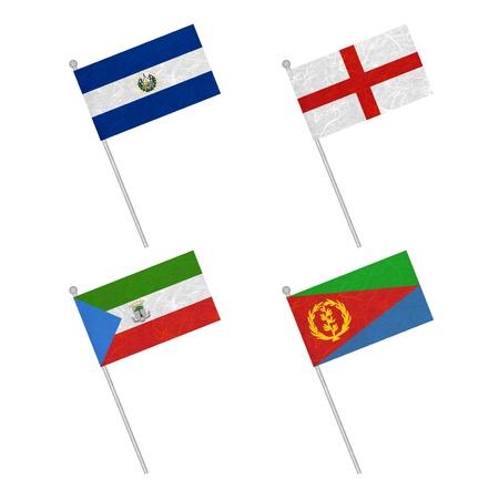 eritrea: Nation Flag. Flag pole recycled paper on white background. ( El Salvador , England , Equatorial Guinea , Eritrea ) Stock Photo