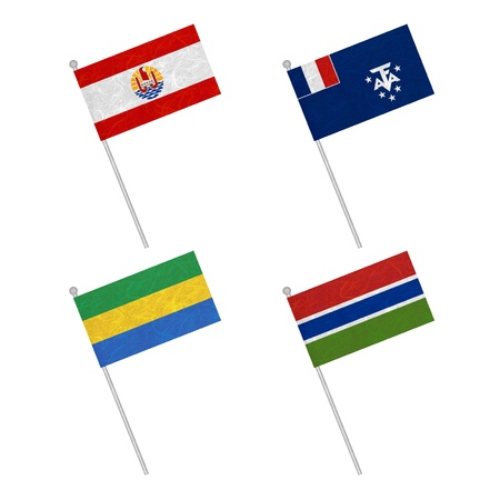 Nation Flag. Flag pole recycled paper on white background. ( French Polynesia , French Southern and Antarctic Lands , Gabon , Gambia ) Stock Photo - 17264821