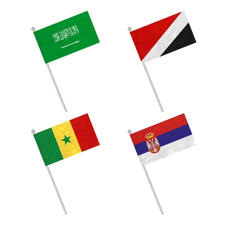 sealand: Nation Flag. Flag pole recycled paper on white background. ( Saudi Arabia , Sealand Principality , Senegal , Serbia )